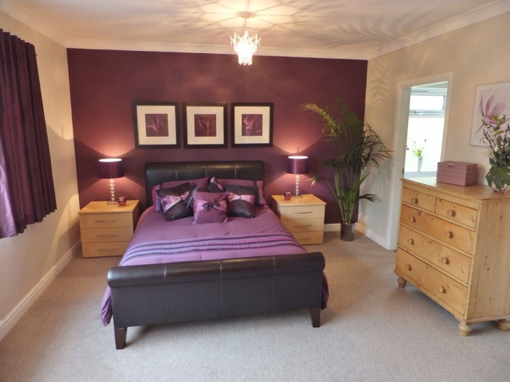 purple accent wall in bedroom purple accent wall bedroom home design 19520