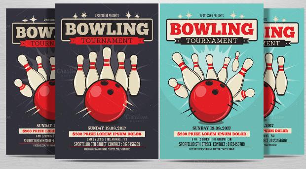 elegant bowling flyer design