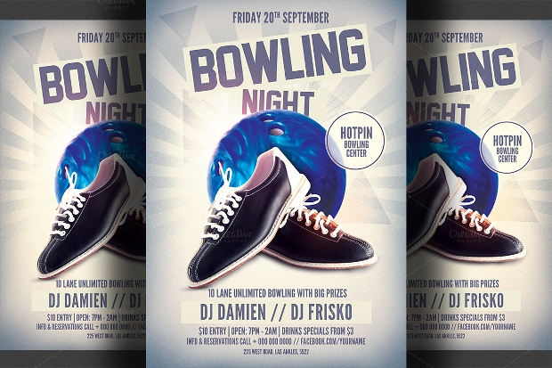 awesome flyer design for bowling party