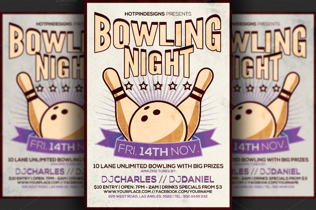 bowling psd flyer design