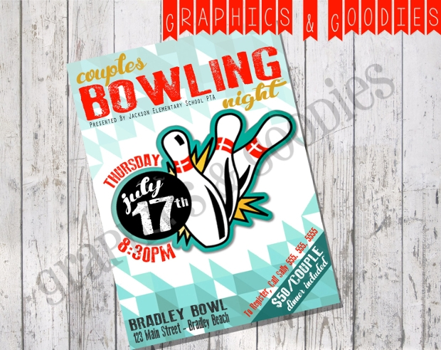 eye catching bowling flyer design
