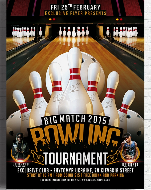 bowling tournament flyer design