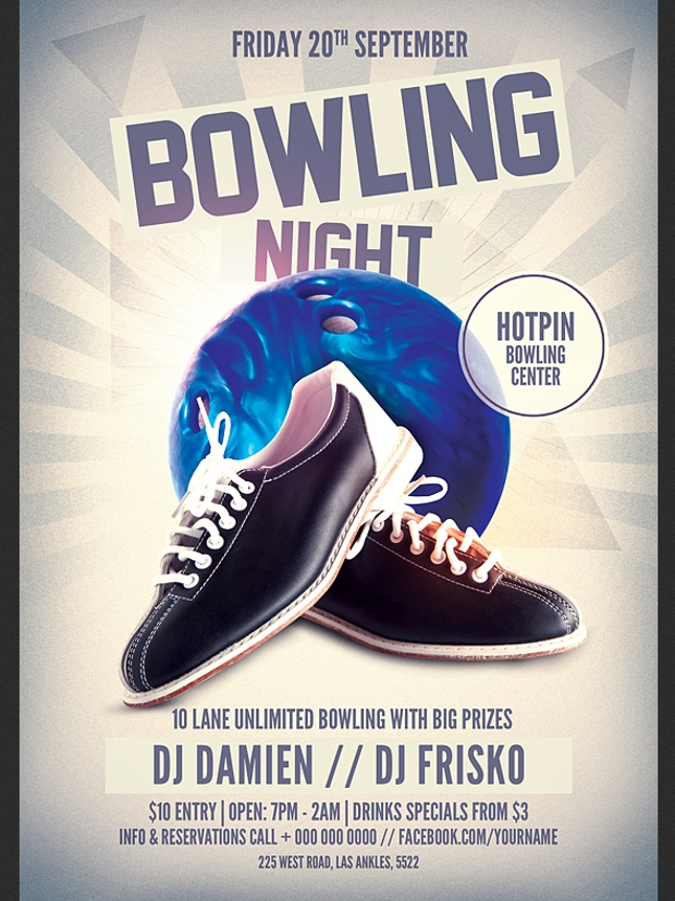 bowling dj event flyer