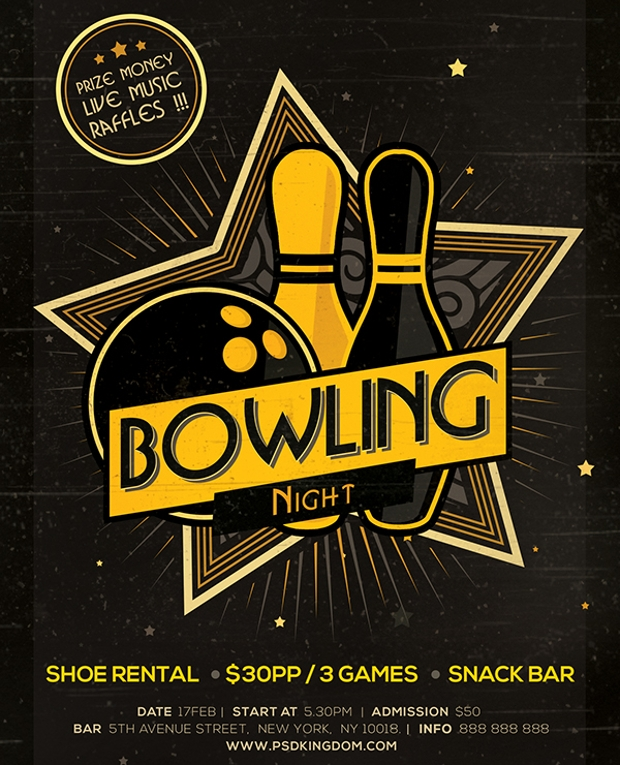 bowling game flyer