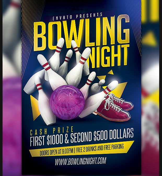 colorful flyer of bowling