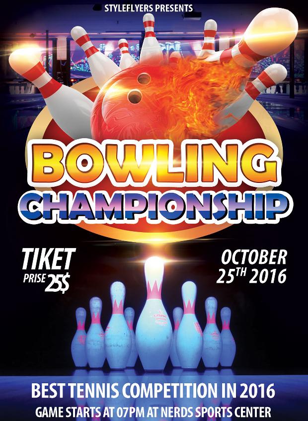 bowling championship psd flyer