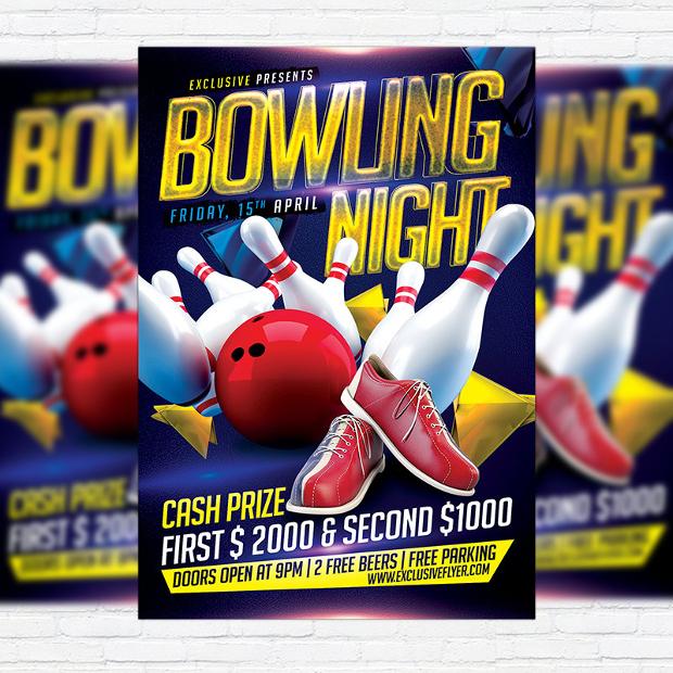 premium bowling flyer