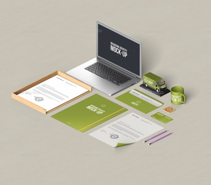 stationery branding macbook mockup