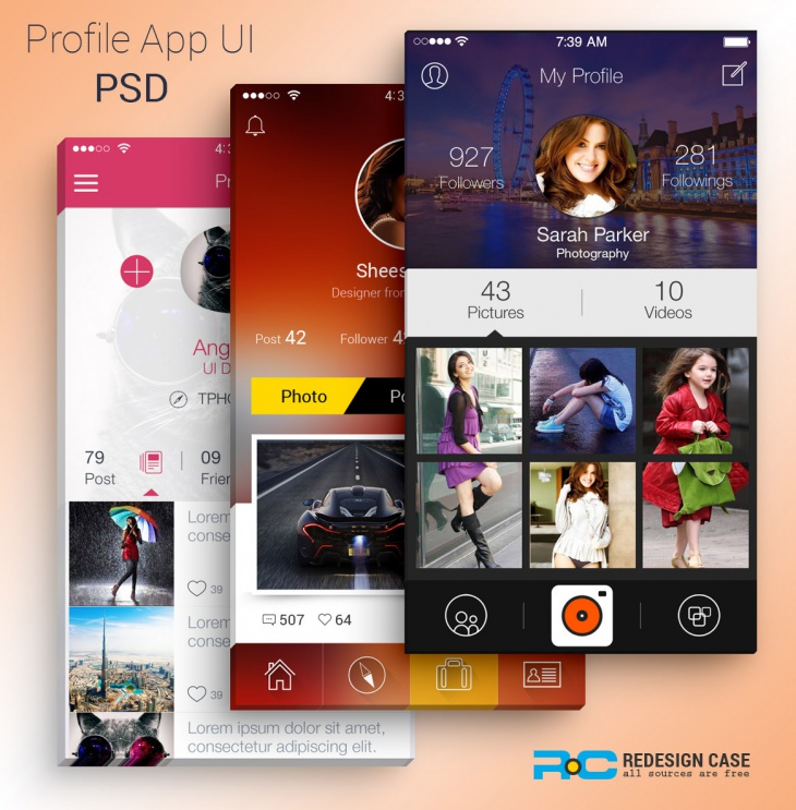App User Profile Design Psd