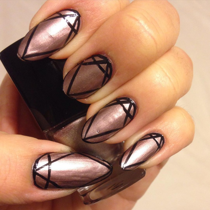 Geometric Metallic Nail Art