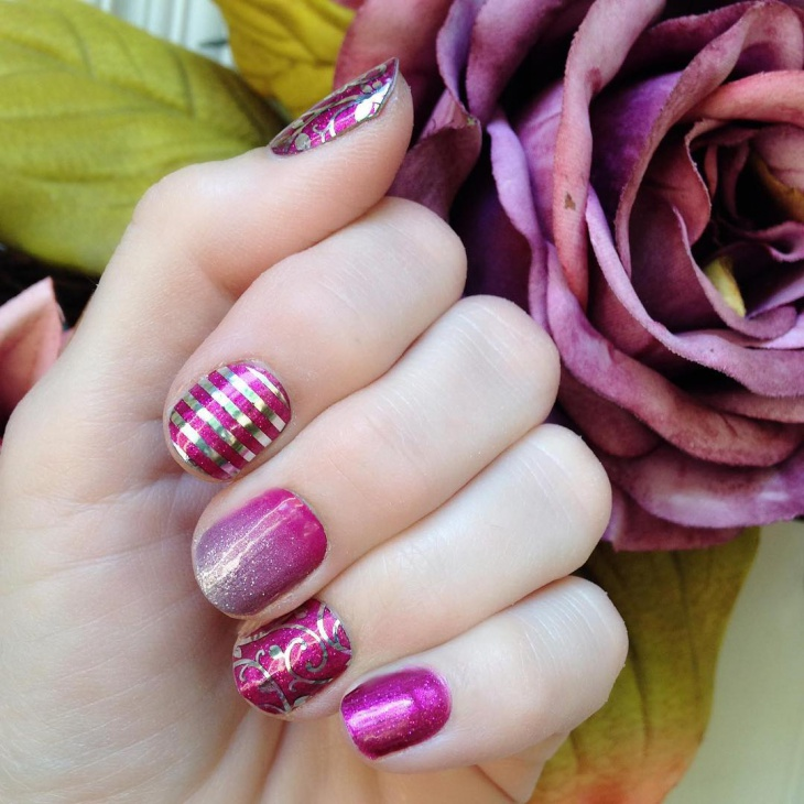 Metal Striped Nail Design