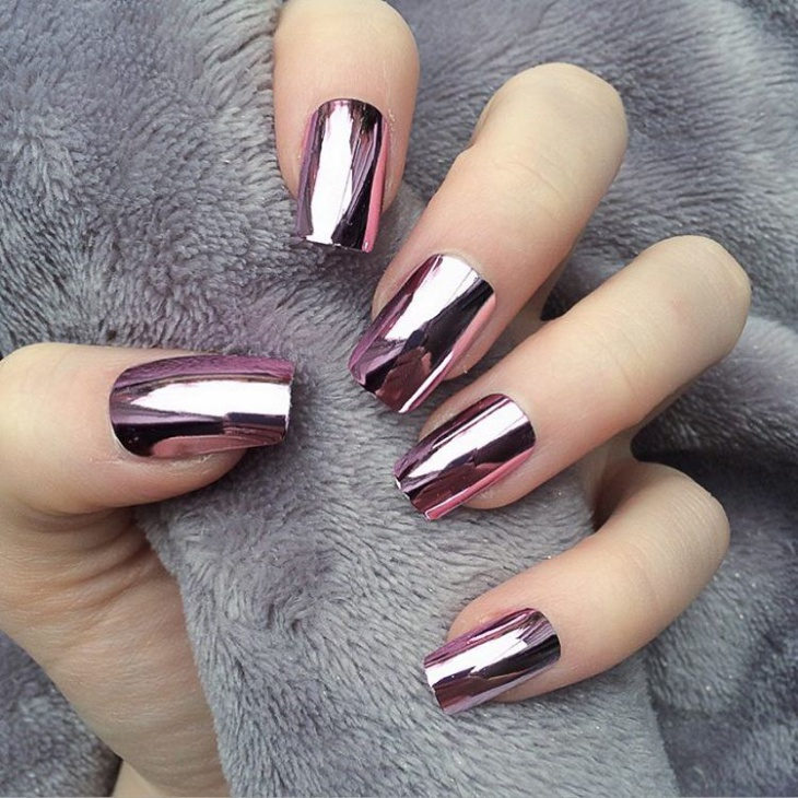 Metallic Nail Art for Long Nails