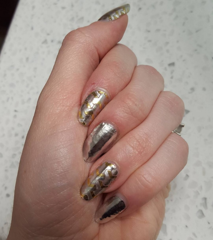 Metallic Chrome Silver Nail Art