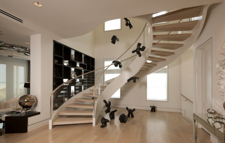 Modern Staircase Design with Teak Wood Steps