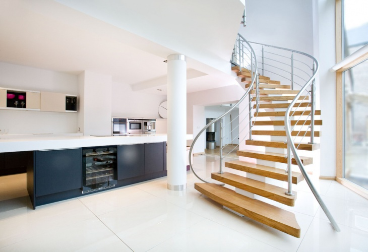 Unique Staircase Design with Oak Treads