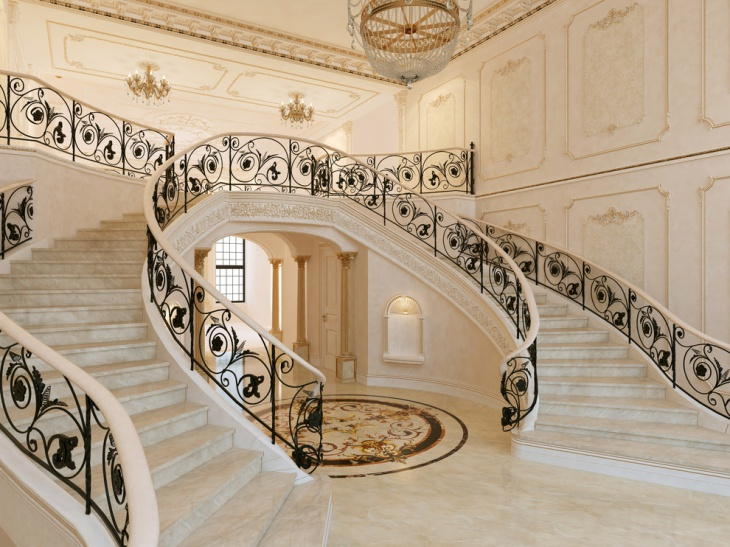 Retro Style Staircase Design for Rich Mansion