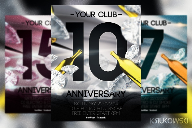 Anniversary Flyer PSD Print