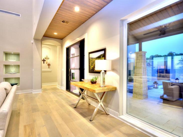 contemporary hall features minimalist lighting