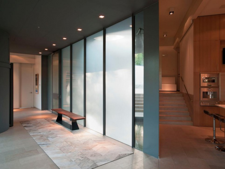 modern charcoal gray hall with contrast lighting