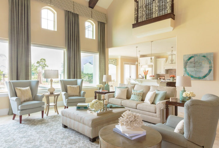 Cool Cream Color Family room Design
