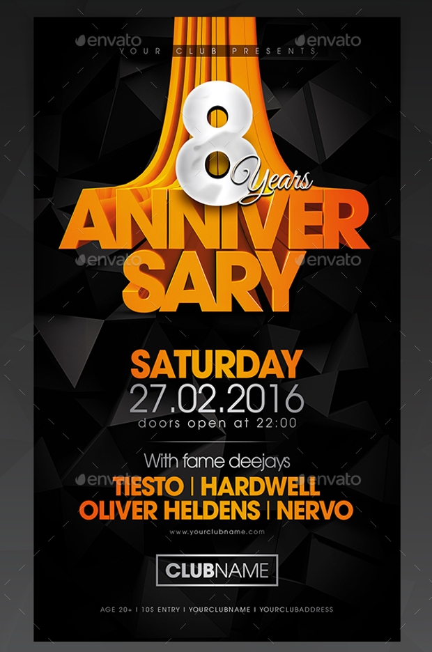 18  best anniversary flyer psd designs