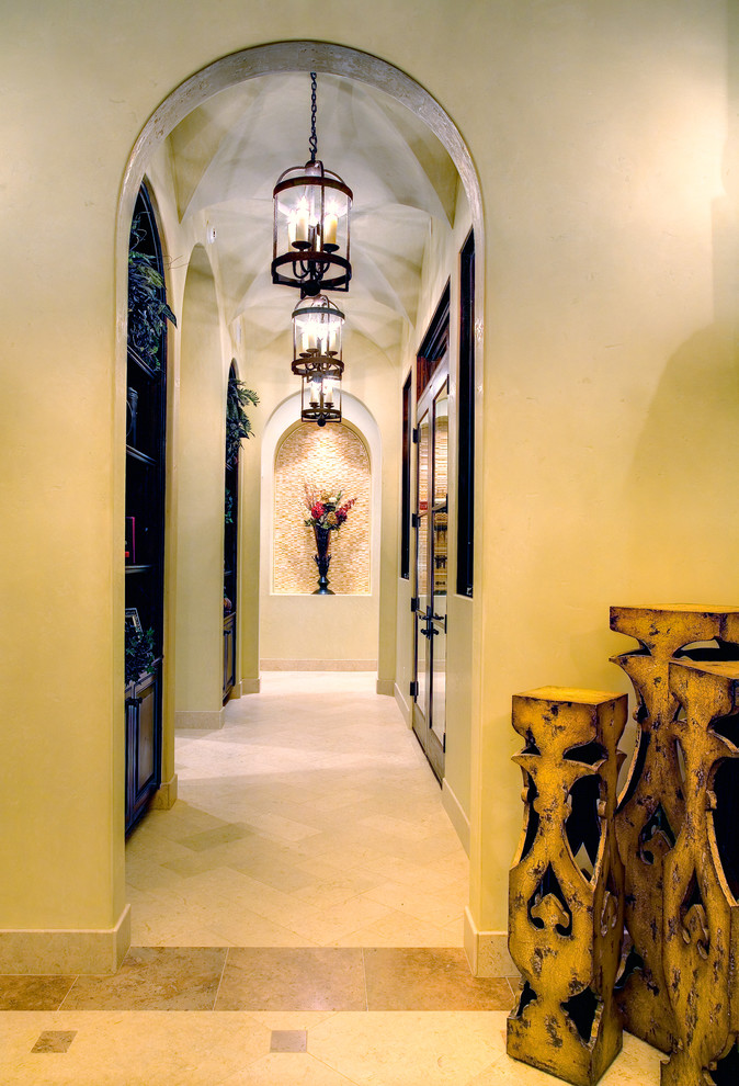 mediterranean hall with classic pendent lights