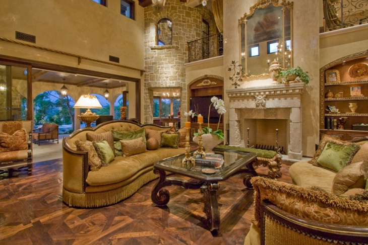 Mediterranean Family Room with Victorian Look
