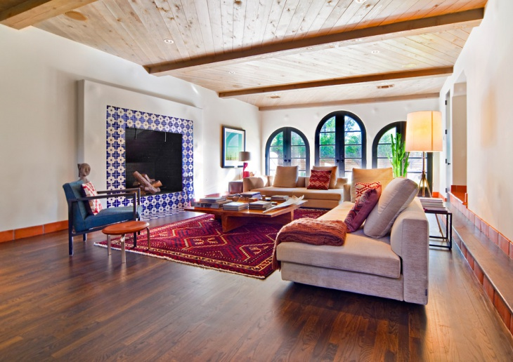 Trendy Family Room Design with Wooden Ceiling