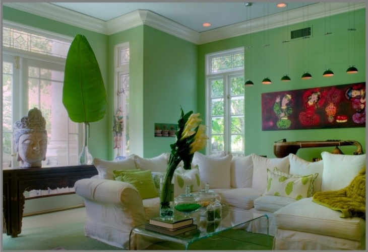 Bold Green Family Room Design