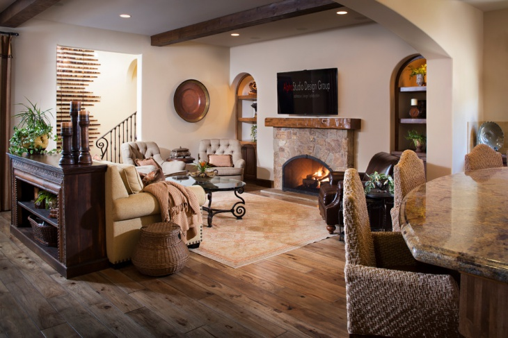 Natural Earth Tone Color Family Room Design