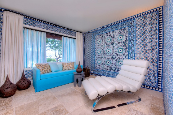 Blue and White Family Room Design