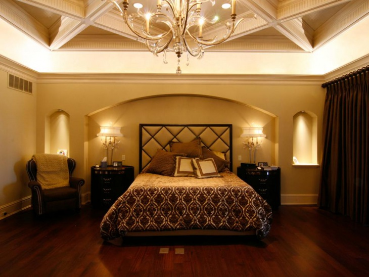 traditional master bedroom with block lighting