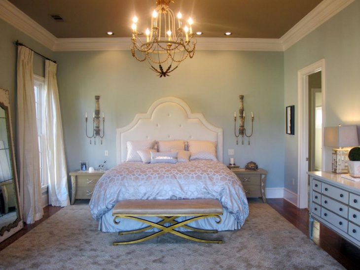 Light Blue Traditional Bedroom With Ambeint Light