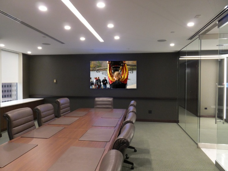 unique conference room design with teleconference