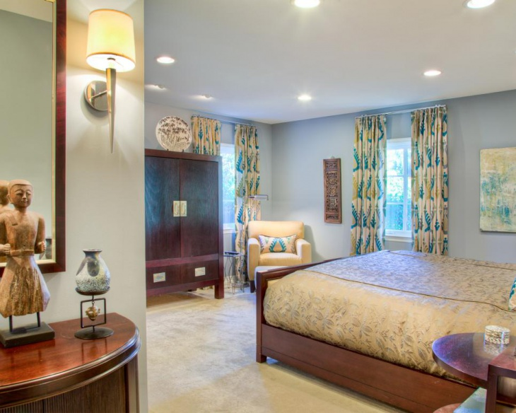 eclectic lighting drapes brighten master bedroom