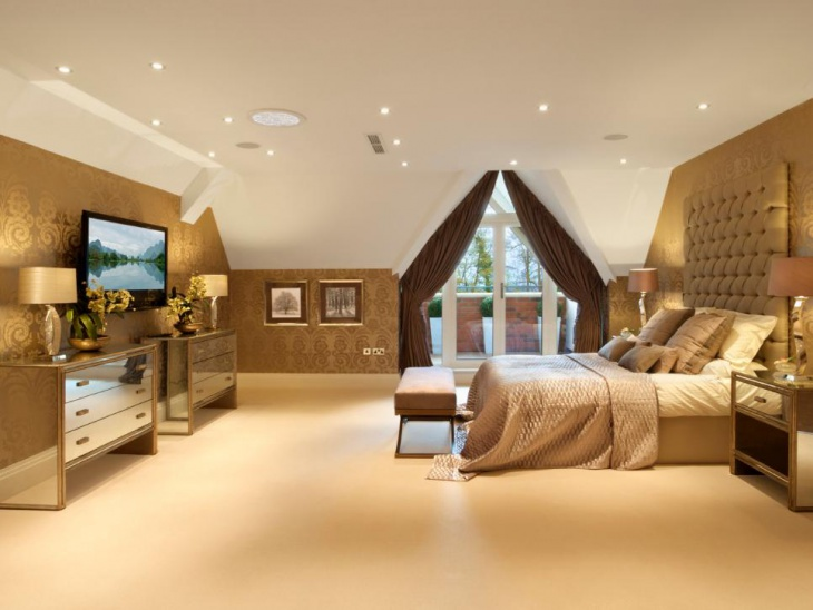 Gold Master Bedroom With Light Drapers
