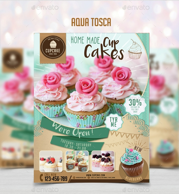 Simple Cupcake Flyer Menu