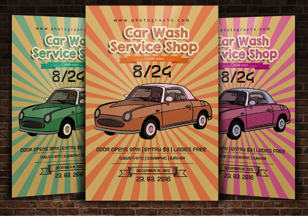 Retro Car Wash Flyer Design