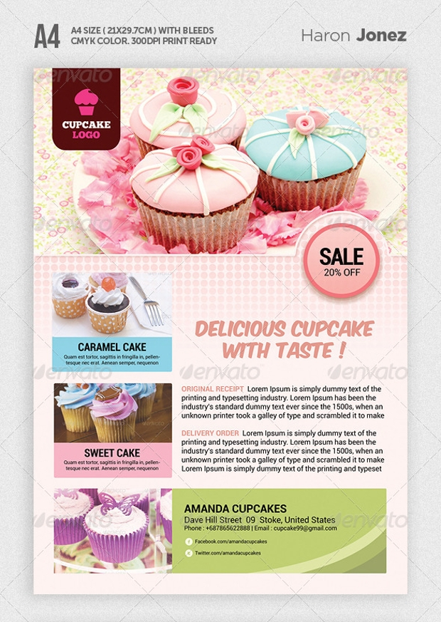 Easy Editable Cupcake Flyer