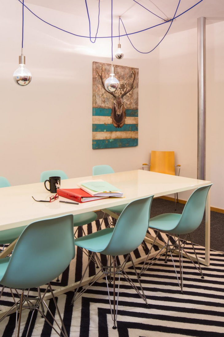eclectic conference room with blue chairs
