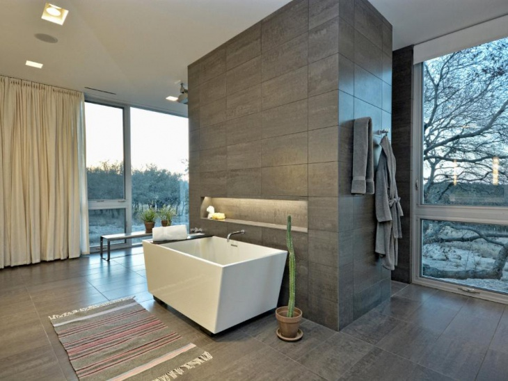 gray contemporary bathroom with gray towel