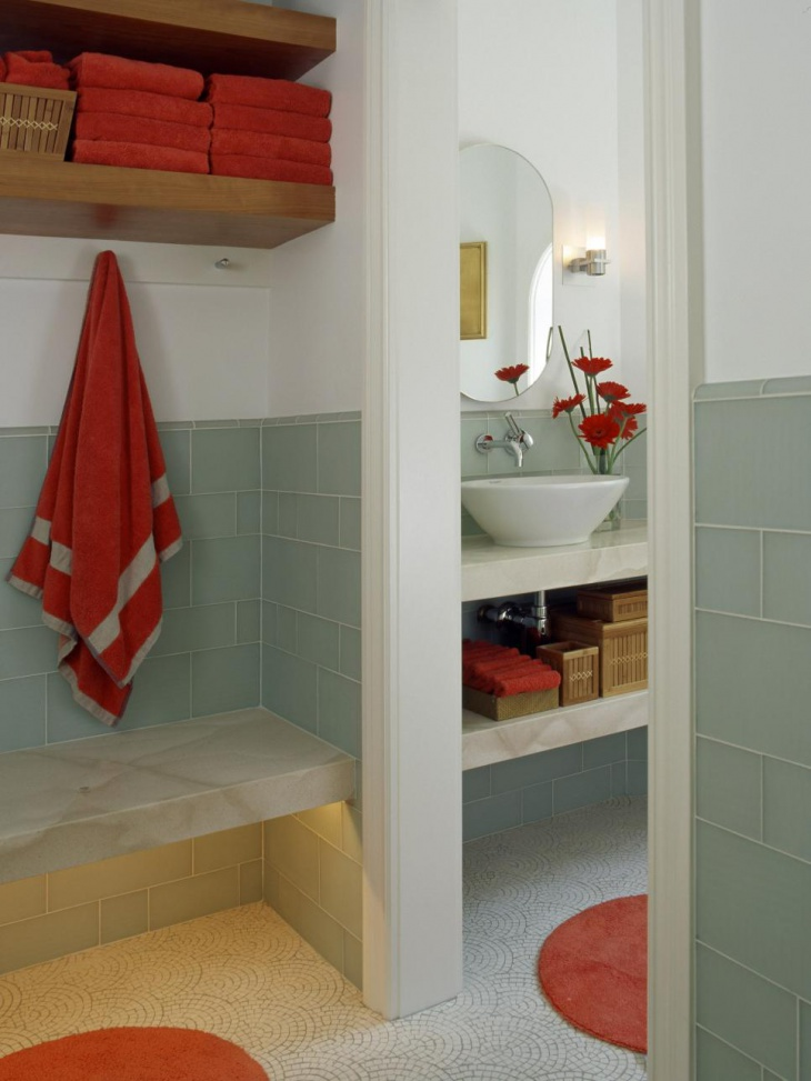 poolside spa bathroom with red towel - Towel Design Ideas