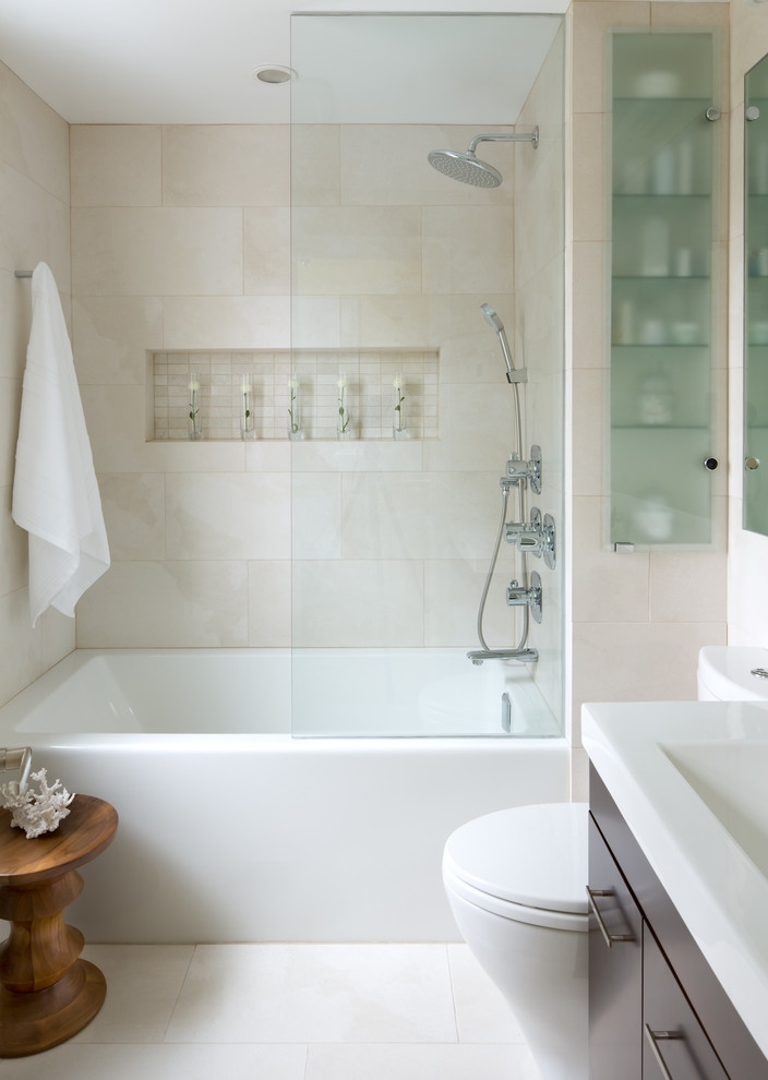 contemporary bathroom with bright white towel