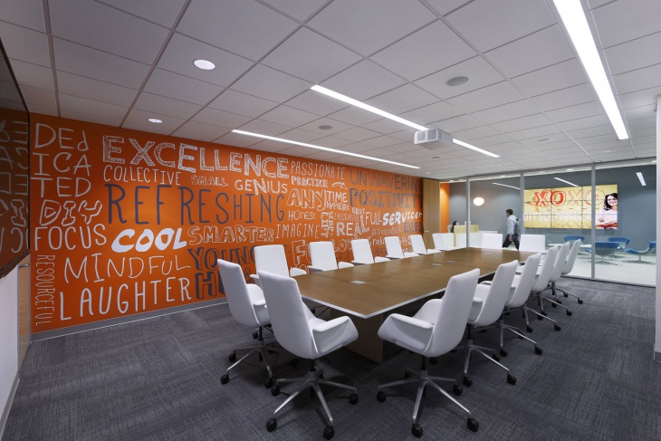 Colorful Conference Room Design with White Chairs