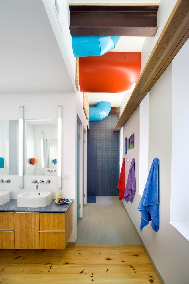 contemporary bathroom different color towels
