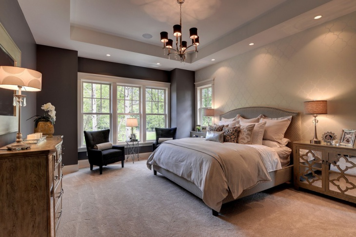 Luxury Bedroom with Simple Chandelier Light