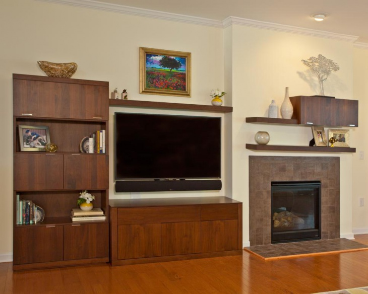 Living Room With Modern Storage Cabinets