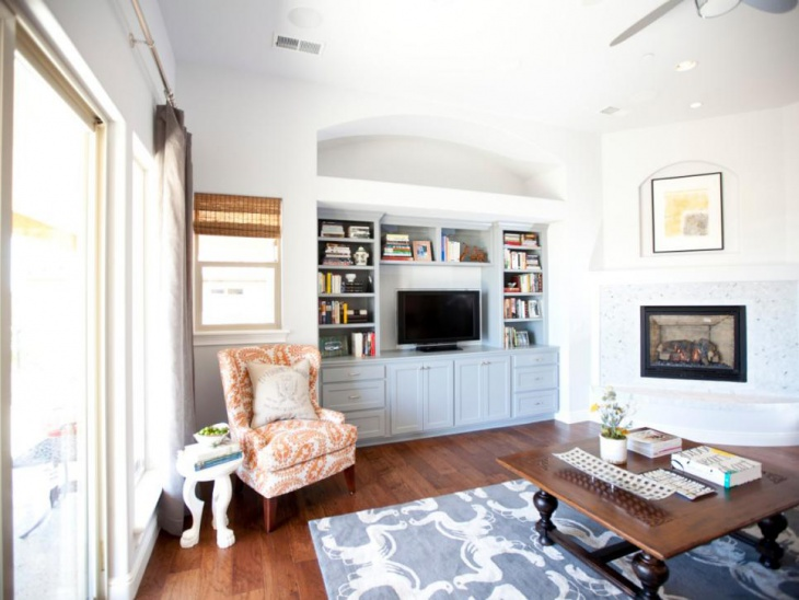 Transitional White Living Room With Built In Storage