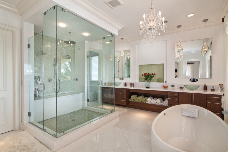 Classy Mine Craft Chandelier in Transitional Bathroom