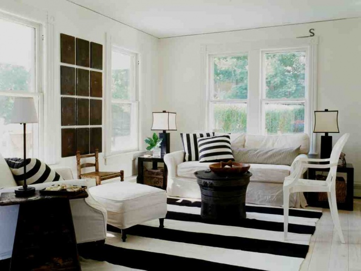 shabby chic black and white living room